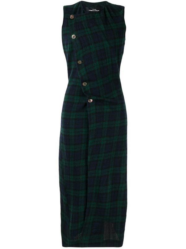 Comme Des Garçons Pre-Owned sleeveless tartan dress in blue