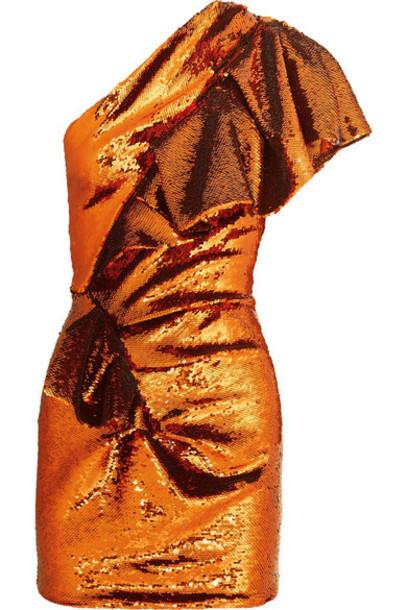 Alexandre Vauthier - One-shoulder Sequined Crepe De Chine Mini Dress - Orange