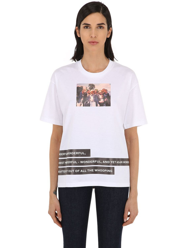 BURBERRY Photo Print Cotton Jersey T-shirt in white