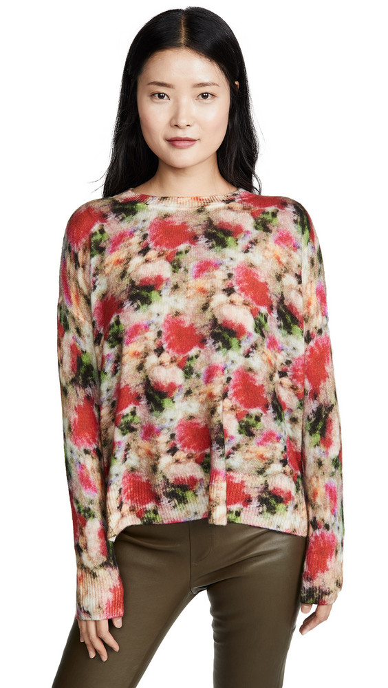 Adam Lippes Floral Crew Neck Cashmere Sweater in multi