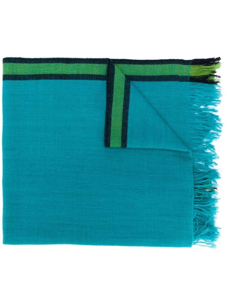 Holland & Holland fringed cashmere scarf in blue