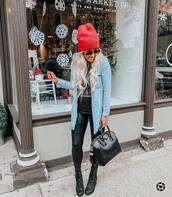 shoes,black boots,platform shoes,lace up boots,black leggings,black bag,black t-shirt,denim shirt,knit,hat