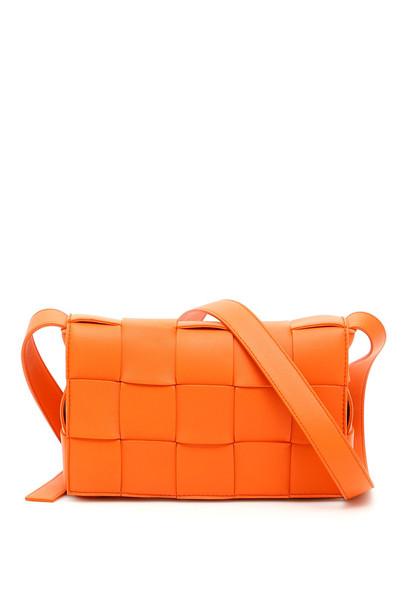 Bottega Veneta Maxi Intreccio Crossbody Bag in gold / orange
