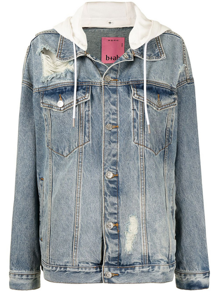 b+ab b+ab distressed hooded denim jacket - Blue