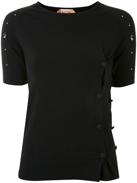 Nº21 off-centre buttoned cardigan in black