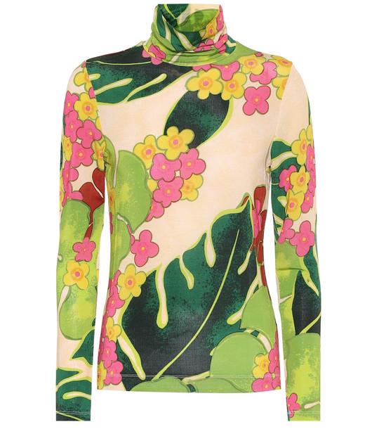Dries Van Noten Printed stretch-jersey mockneck top in green