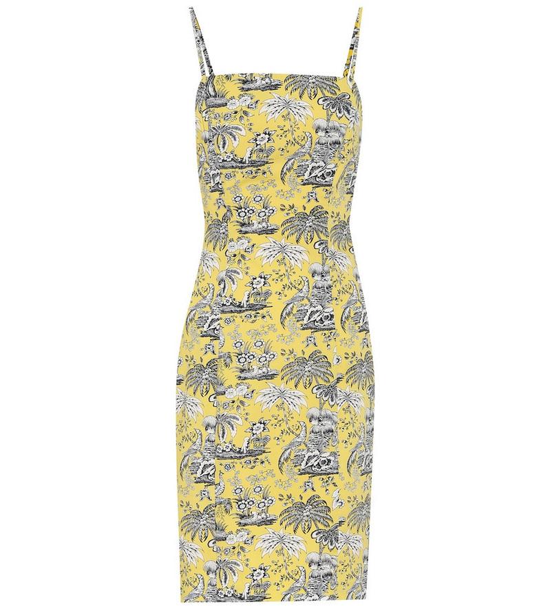Staud Basset printed cotton dress in yellow