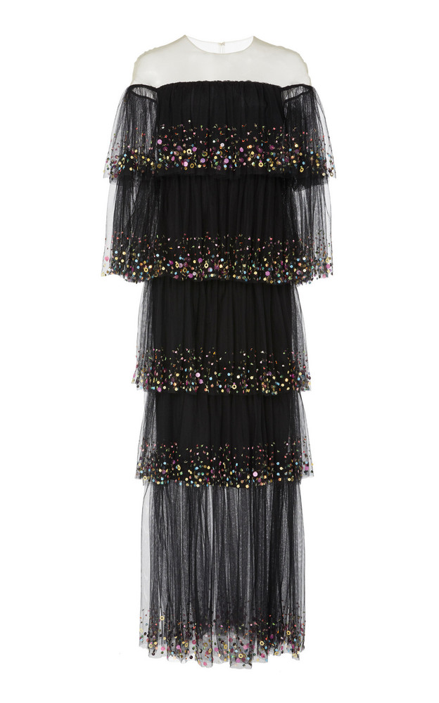 Monique Lhuillier Sequined Tiered Cap-Sleeve Tulle Gown in black