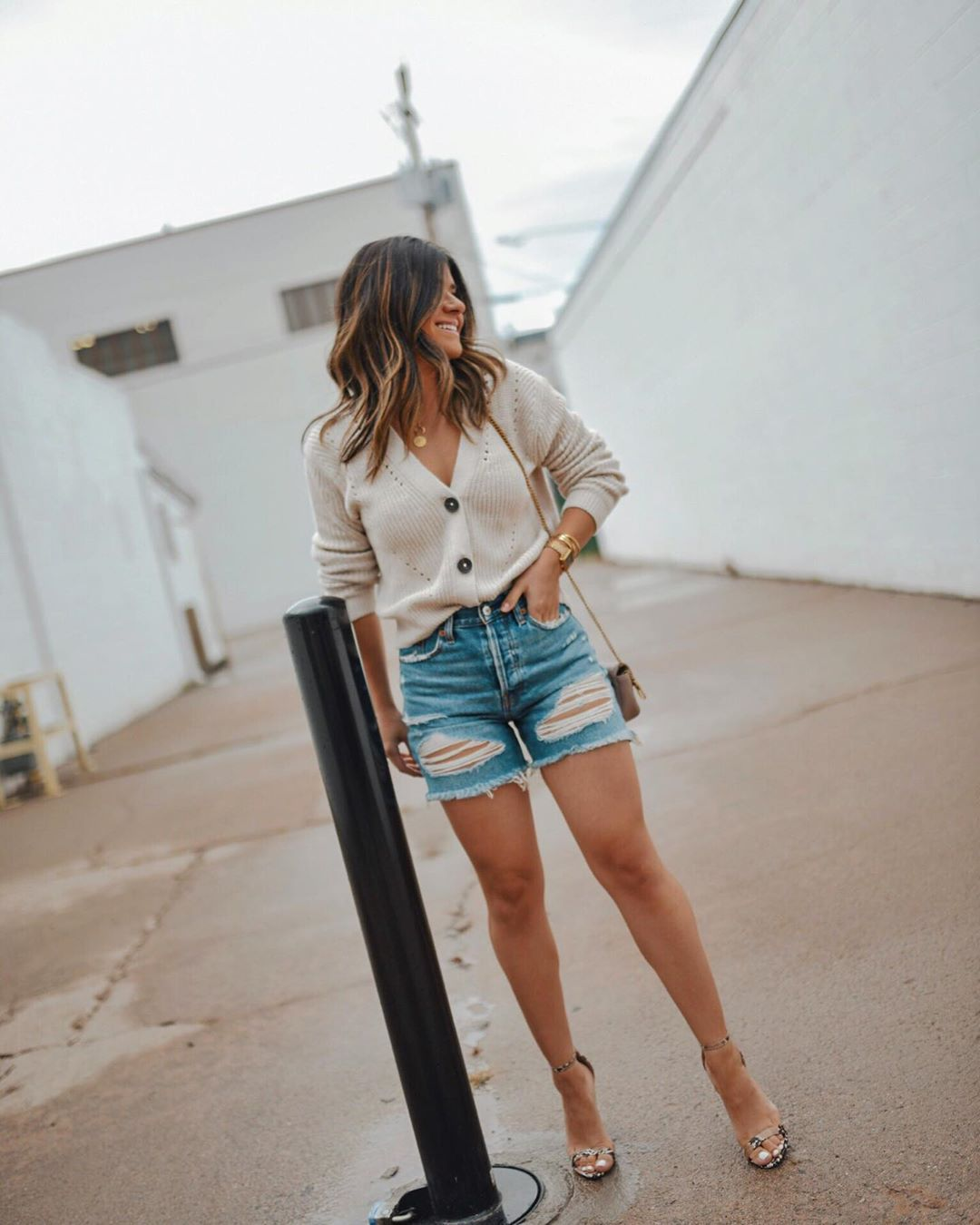 shorts denim shorts cardigan sandal heels