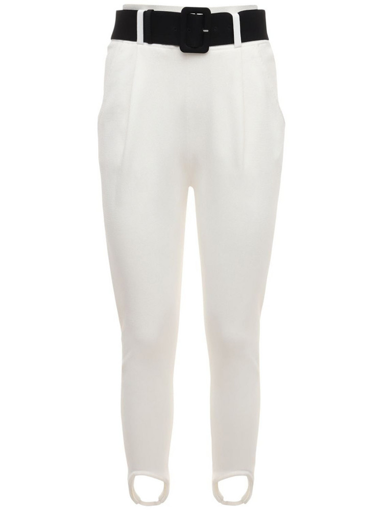 SELF-PORTRAIT Knitted Stirrup Jogger Pants in white
