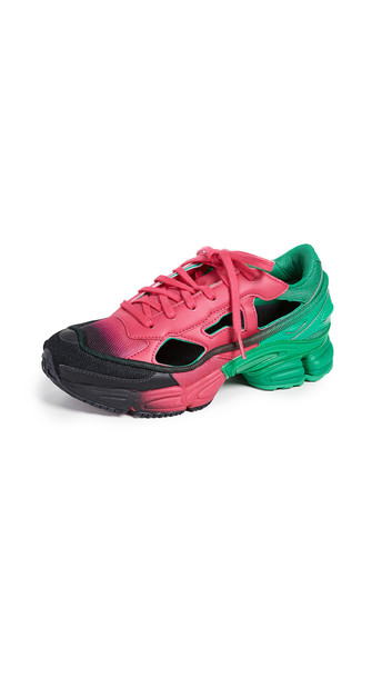 adidas x Raf Simons Replicant Ozweego Sneakers in black / green / pink