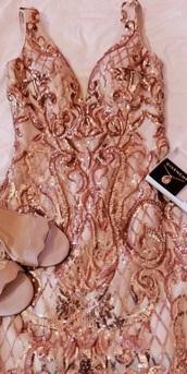 dress,rose gold,sequin dress