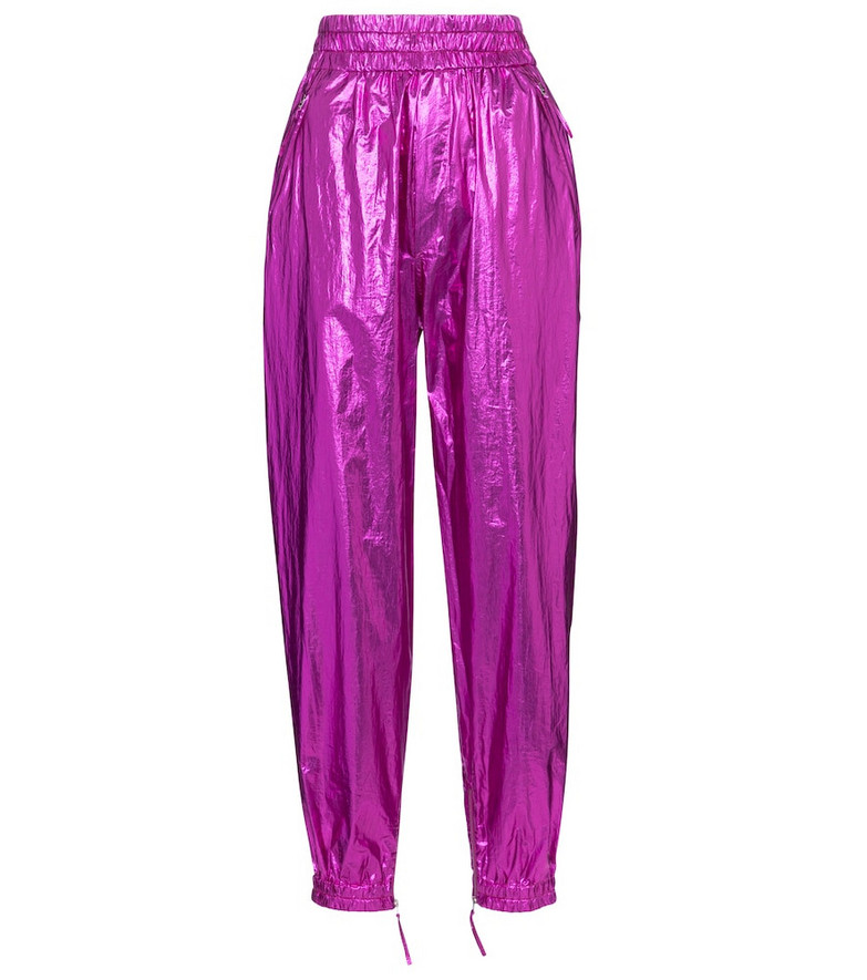 Isabel Marant Galoni metallic-coated cotton pants in pink
