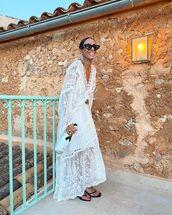 dress,maxi dress,lace dress,long sleeve dress,black sandals