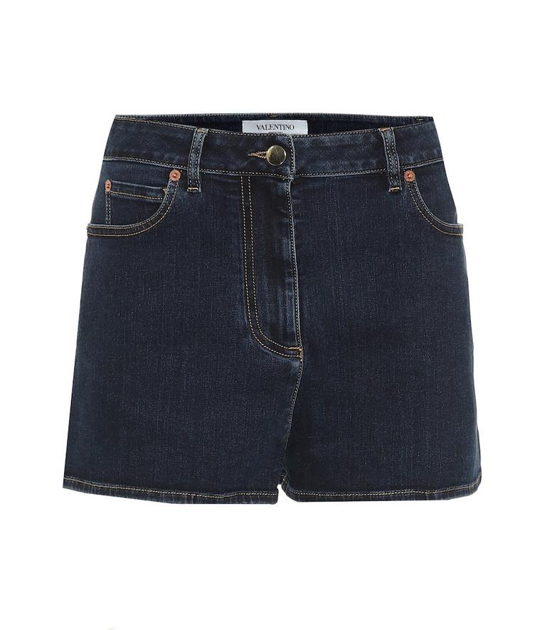 Valentino Stretch-denim shorts in blue