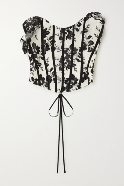 Brock Collection - Grosgrain-trimmed Embroidered Tulle Bustier Top - Black