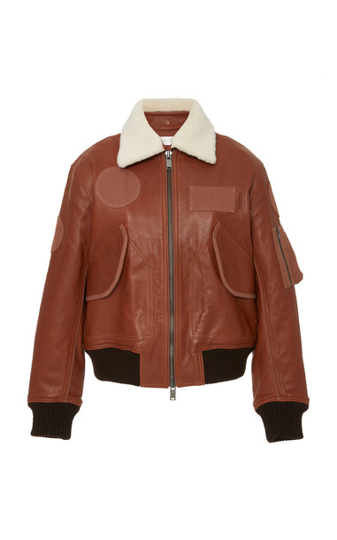 Victoria Victoria Beckham Patch-Detailed Leather Bomber Jacket Size: in brown