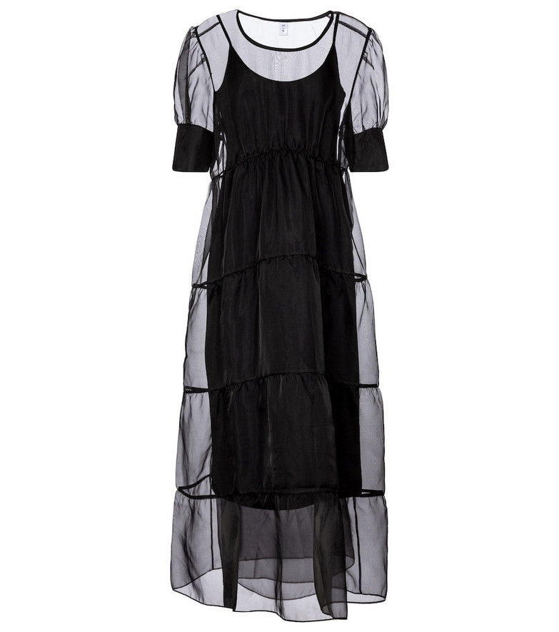 SIR Maelie silk organza maxi dress in black
