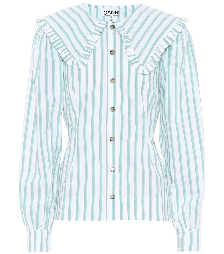 Ganni Feathery striped cotton shirt in green