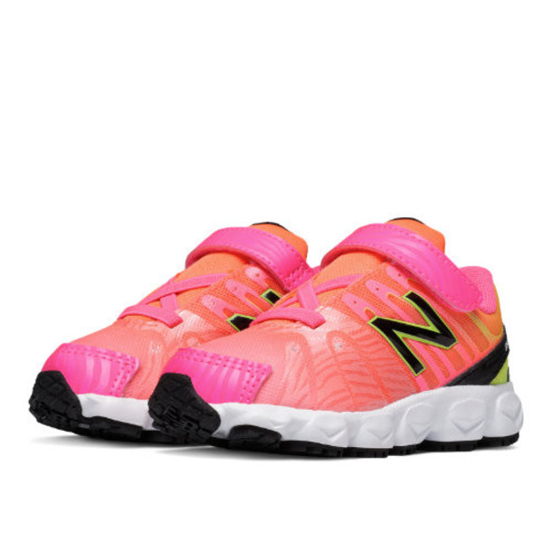 New Balance Hook and Loop Balance 890v5 Print Kids' Infant Running Shoes - Pink, Orange (KV890MAI)