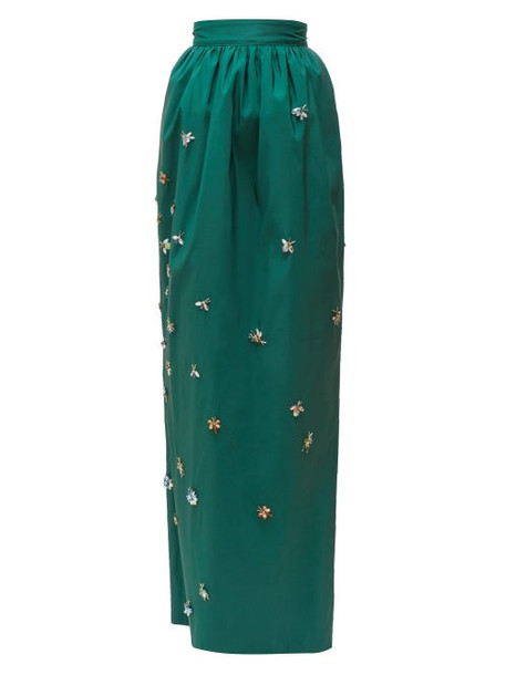 Carolina Herrera - Embellished Faille Maxi Skirt - Womens - Dark Green