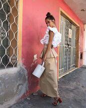 bag,bucket bag,white bag,white blouse,ruffle,midi skirt,sandal heels
