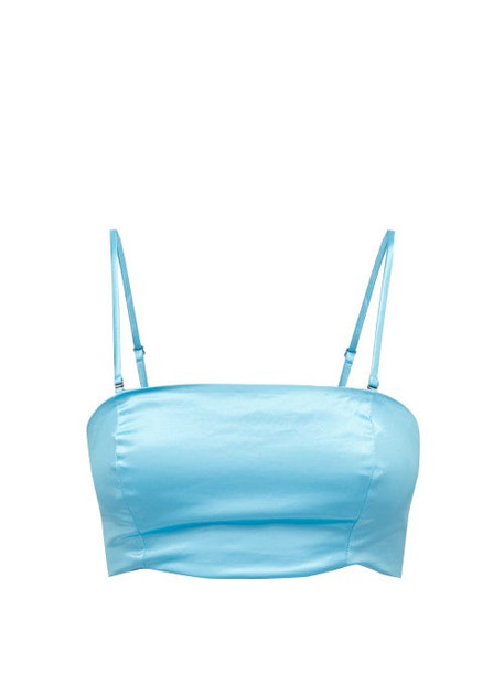 Staud - Alessi Cotton-blend Satin Crop Top - Womens - Blue