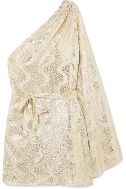 Melissa Odabash - Moss One-shoulder Metallic Jacquard Mini Dress - Gold
