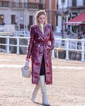 coat,long coat,red coat,vinyl,double breasted,knee high boots,white boots,heel boots,white bag,handbag,black pants,white turtleneck top