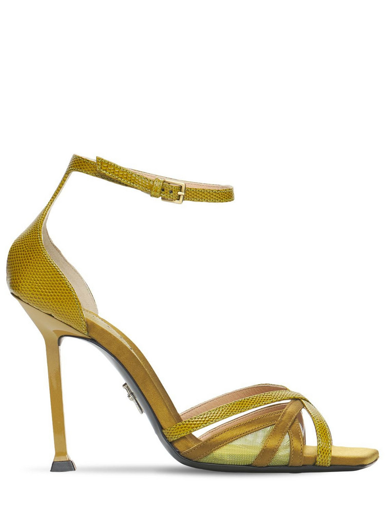PACIOTTI 105mm Leather & Satin Sandals in green