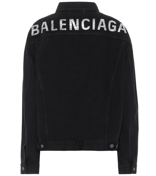 Balenciaga Logo embellished denim jacket in black