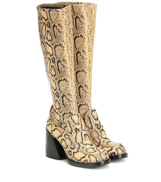 Chloé Adelie snake-effect leather boots in yellow
