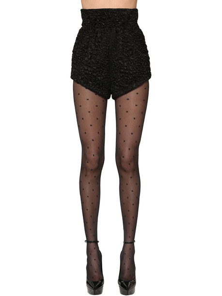 SAINT LAURENT High Waist Viscose & Silk Satin Shorts in black