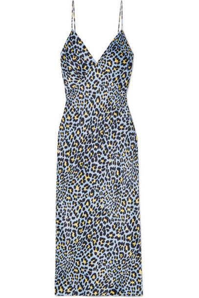 Olivia von Halle - Issa Leopard-print Silk-satin Nightdress - Light blue