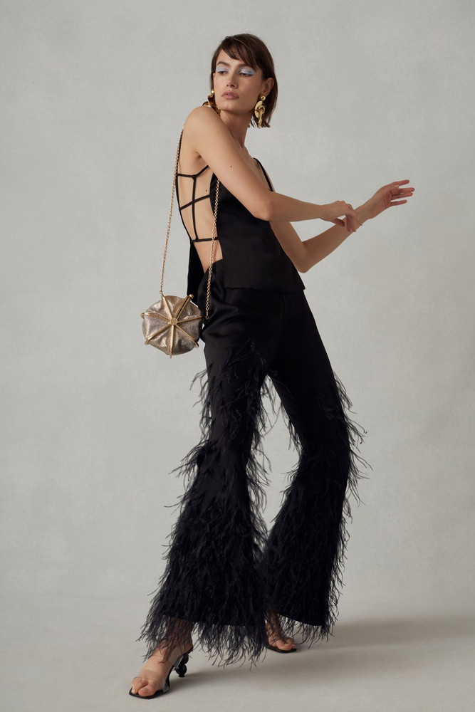 Cult Gaia Karis Feather Pant - Black (PREORDER)                                                                                               $798.00