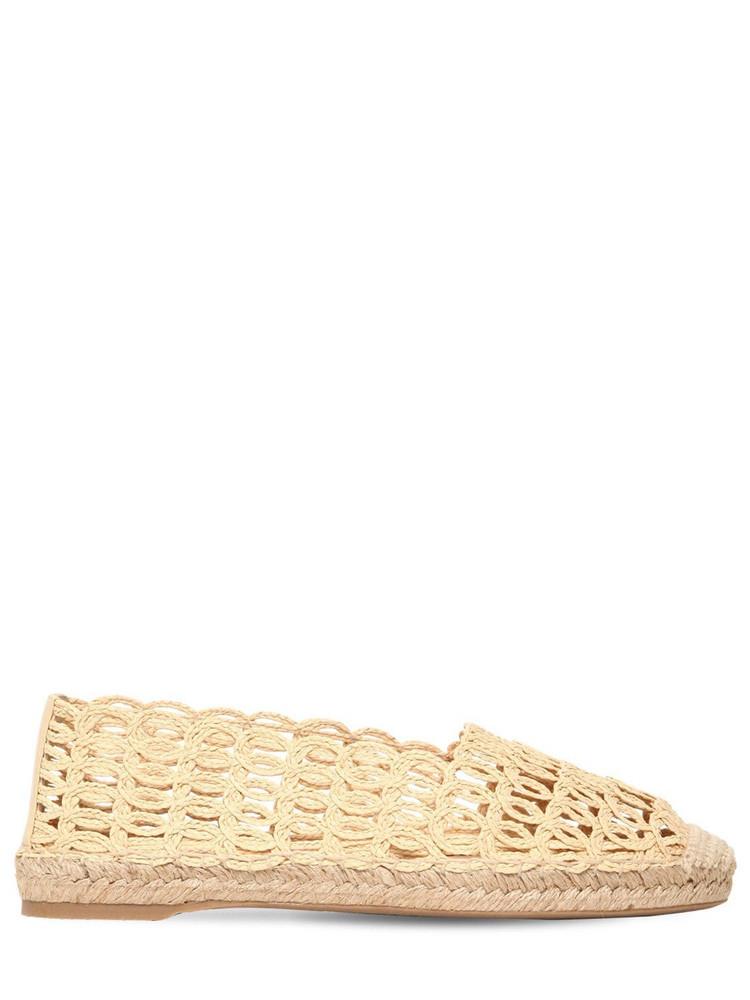 CHARLOTTE OLYMPIA 10mm Woven Raffia Espadrilles in beige