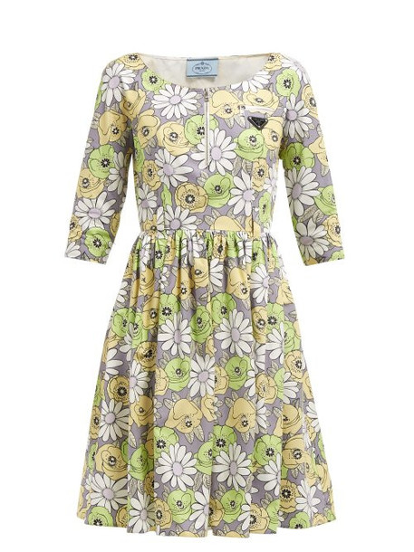 Prada - Blossom Print Cotton Poplin Smock Dress - Womens - Grey Multi