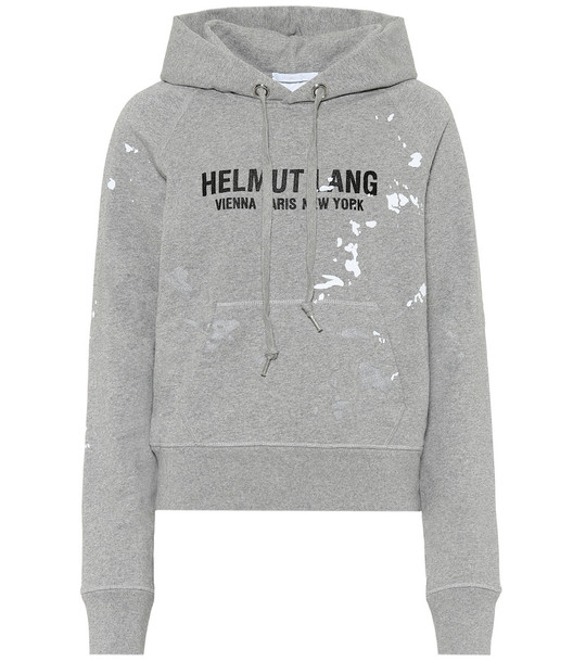 Helmut Lang Slim Painter cotton hoodie in grey
