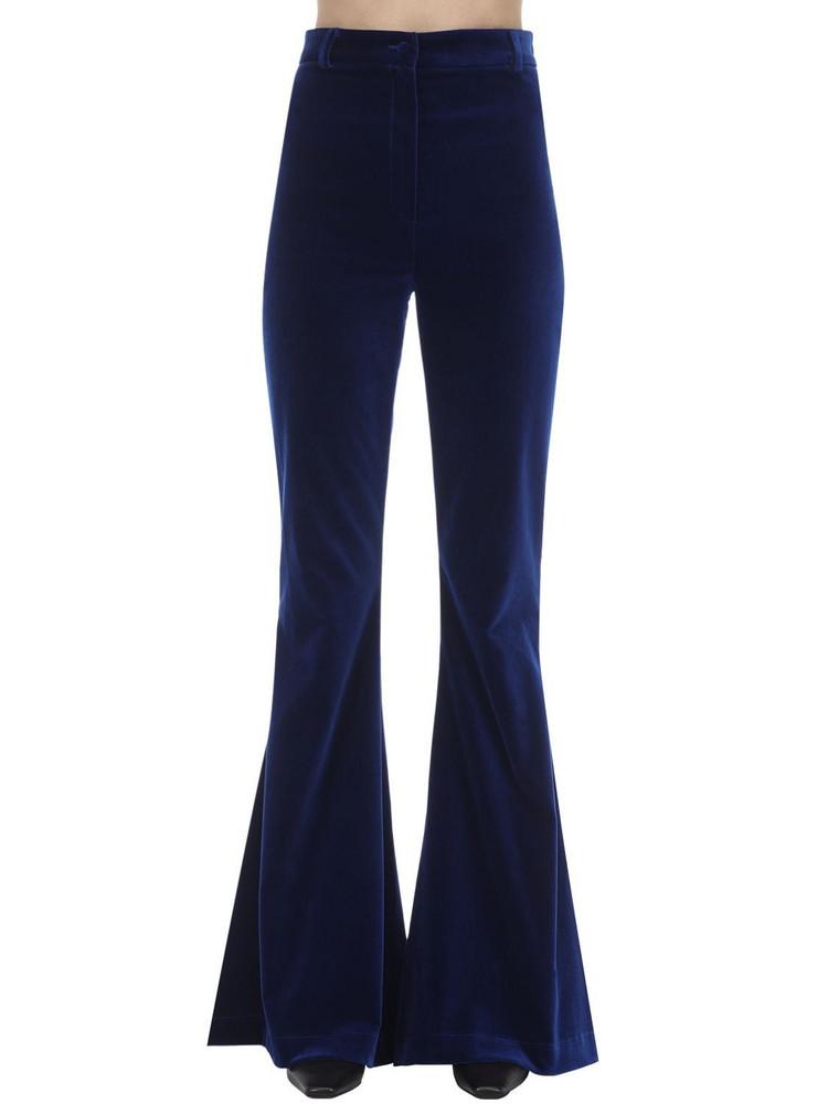HEBE STUDIO Bianca Flared Velvet Pants in blue
