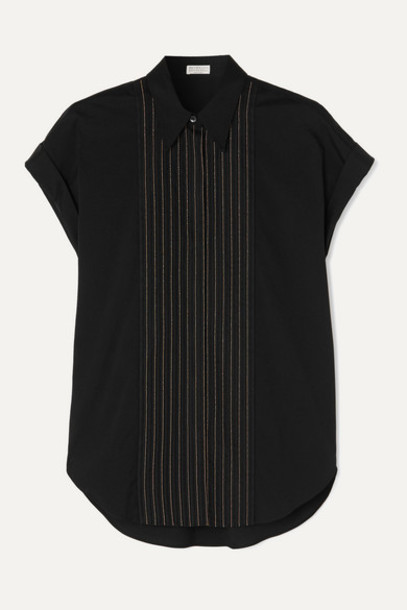 Brunello Cucinelli - Bead-embellished Cotton-blend Poplin Shirt - Black