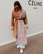 scarf,grey scarf,acne studios,white boots,wide-leg pants,beige coat,belt,white turtleneck top