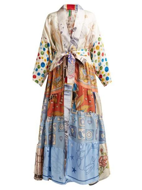 Rianna + Nina Rianna + Nina - Patchwork Print Silk Kimono - Womens - Multi