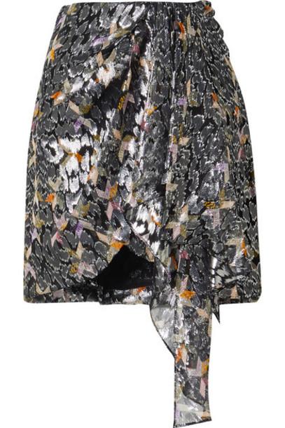 Isabel Marant - Ixora Draped Silk And Lurex-blend Jacquard Mini Skirt - Black