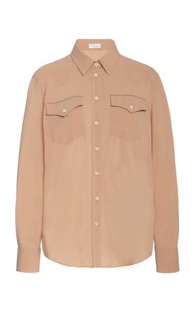 Brunello Cucinelli Silk-Blend Shirt Size: XS in neutral