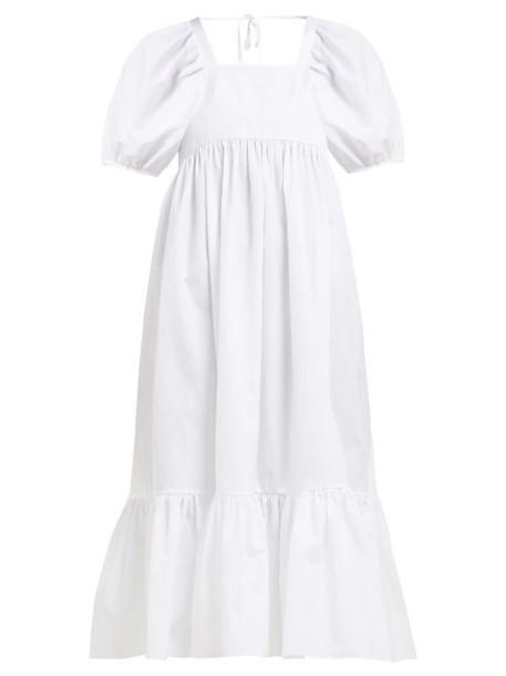 Cecilie Bahnsen - Mary Lou Cotton Poplin Midi Dress - Womens - White