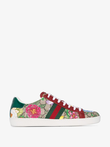 Gucci Multicoloured flora print low top sneakers