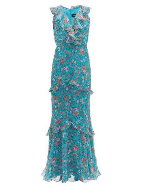 Saloni - Rita Floral Print Silk Crepe De Chine Maxi Dress - Womens - Blue Multi
