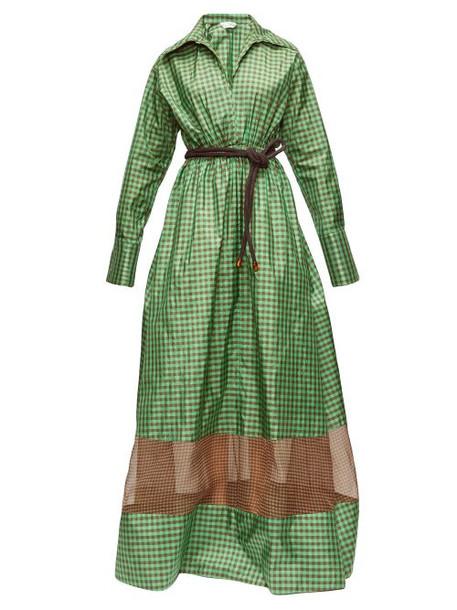 Fendi - Checked Taffeta Maxi Dress - Womens - Green Print