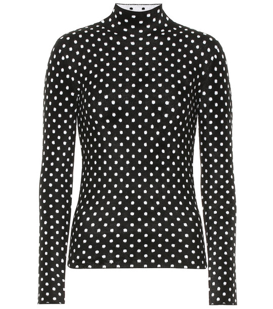 Balenciaga Polka-dot high-neck sweater in black