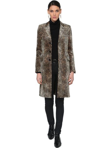 SAINT LAURENT Leopard Print Cotton Blend Velvet Coat